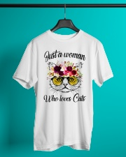 Just A Woman Who Loves Cats Shirt Classic T-Shirt lifestyle-mens-crewneck-front-3