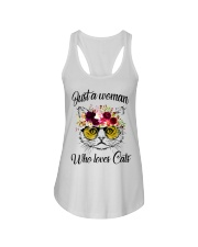 Just A Woman Who Loves Cats Shirt Ladies Flowy Tank thumbnail