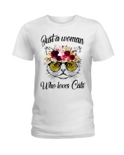 Just A Woman Who Loves Cats Shirt Ladies T-Shirt thumbnail