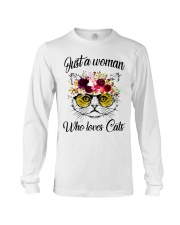 Just A Woman Who Loves Cats Shirt Long Sleeve Tee thumbnail