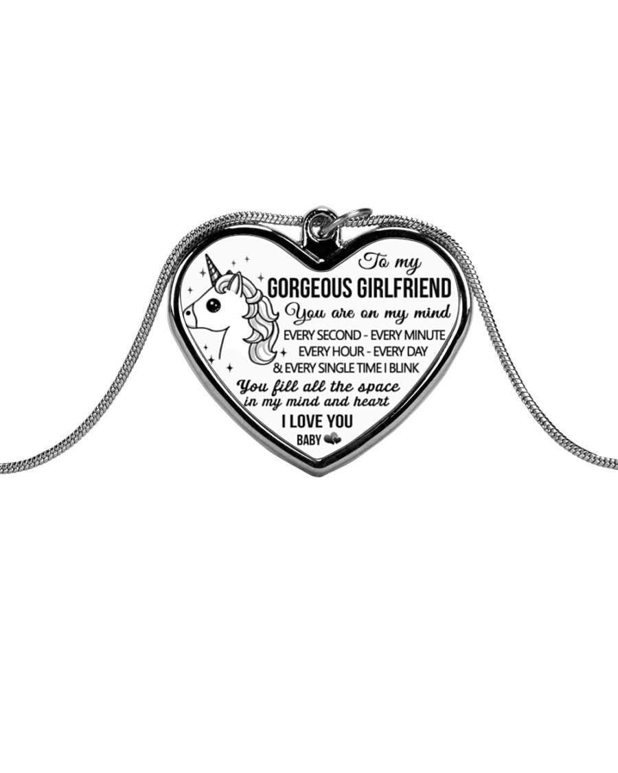 Unicorn You Fill All The Space Girlfriend Metallic Heart Necklace
