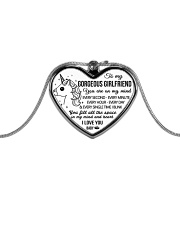 Unicorn You Fill All The Space Girlfriend Metallic Heart Necklace front