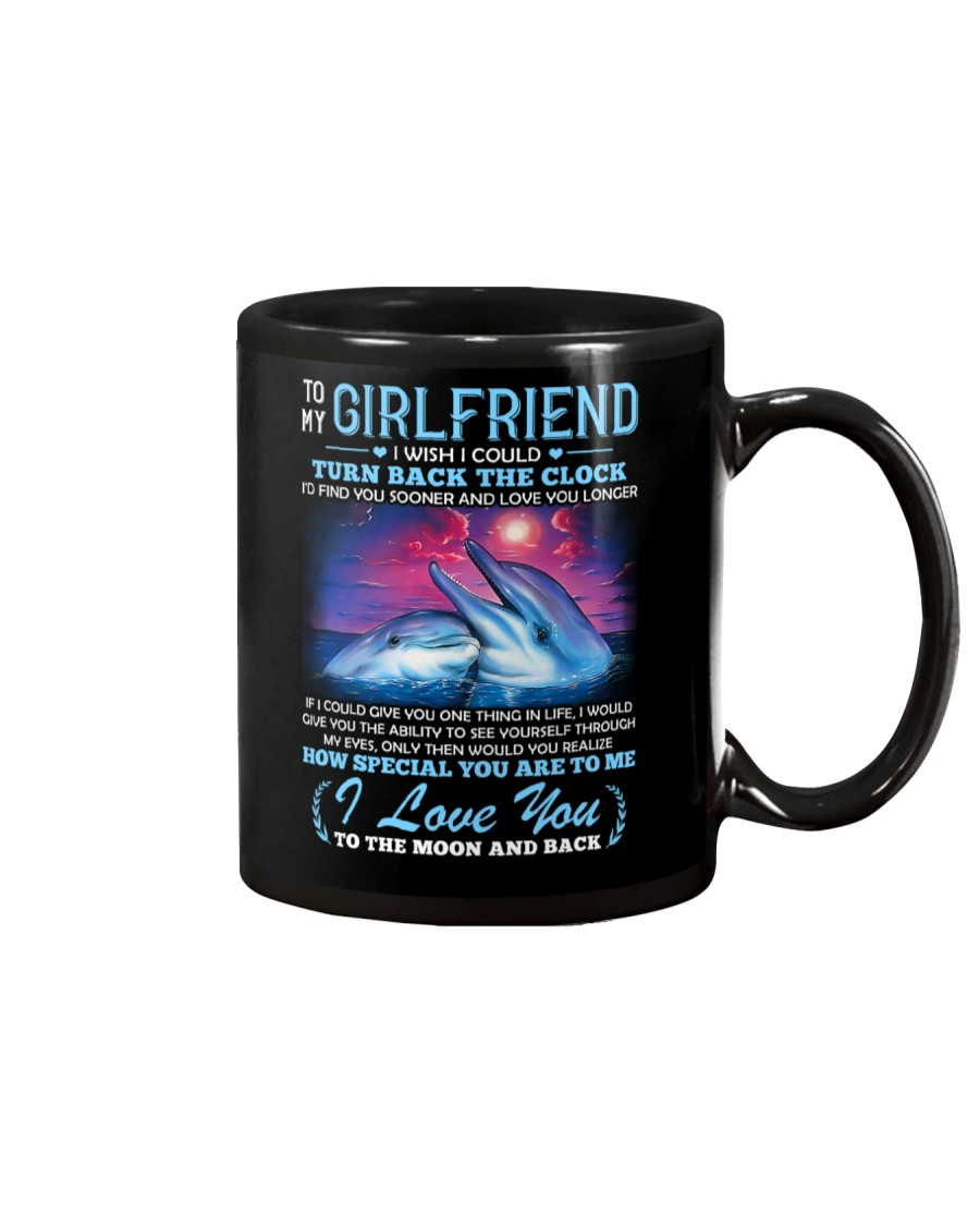 Dolphin Girlfriend Clock Ability Moon Mug
