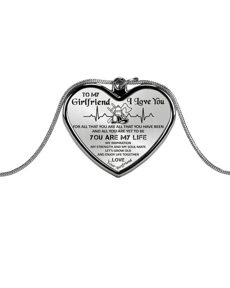 Firefighter You Are My Life Girlfriend Metallic Heart Necklace