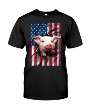 American Flag Pig Classic T-Shirt front