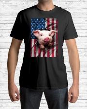 American Flag Pig Classic T-Shirt lifestyle-mens-crewneck-front-1