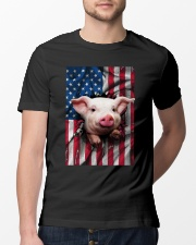 American Flag Pig Classic T-Shirt lifestyle-mens-crewneck-front-13