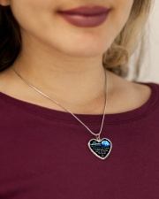 Wolf Mommy Loves You Daughter Mom Metallic Heart Necklace aos-necklace-heart-metallic-lifestyle-1