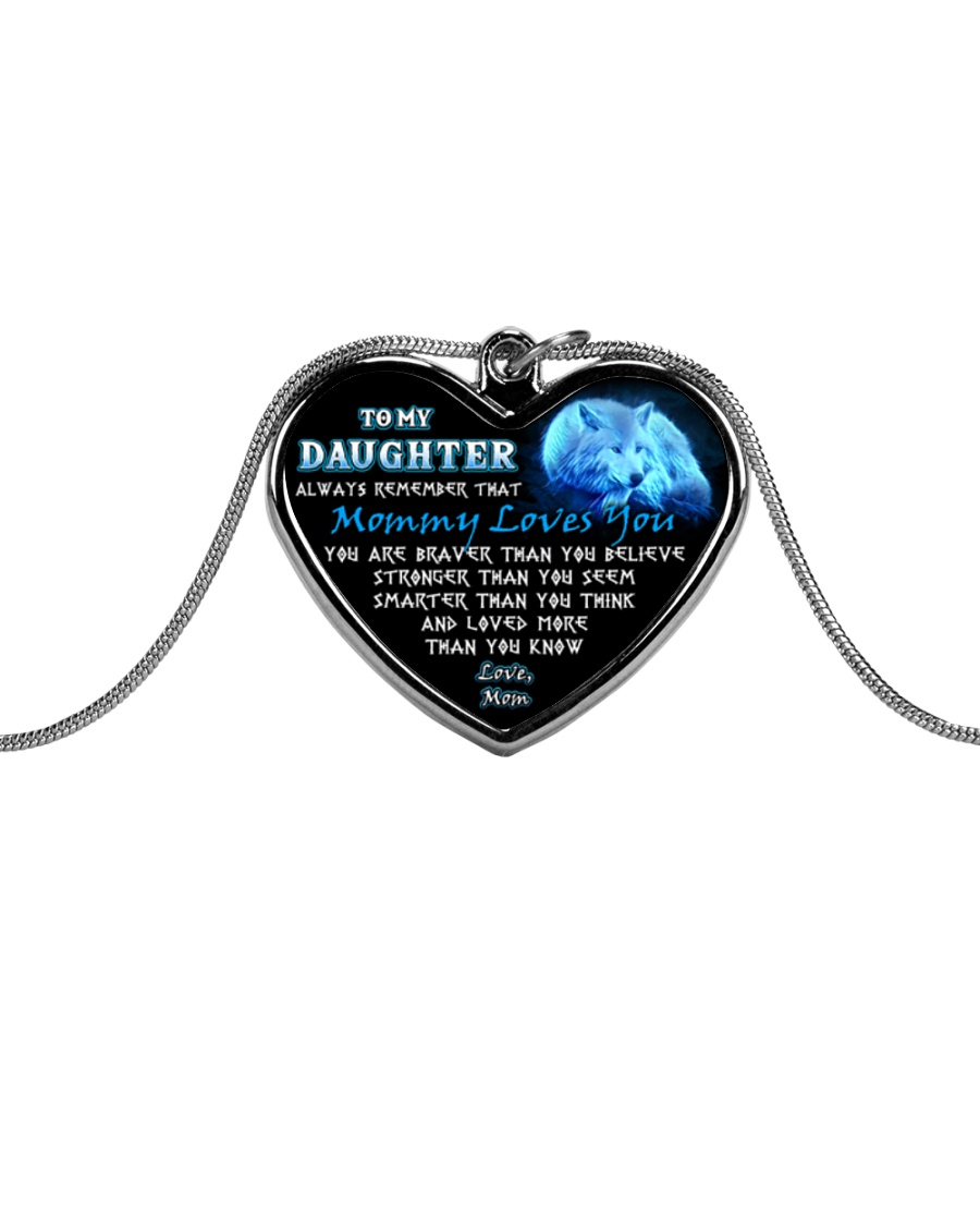 Wolf Mommy Loves You Daughter Mom Metallic Heart Necklace