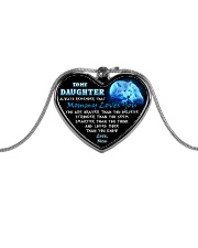 Wolf Mommy Loves You Daughter Mom Metallic Heart Necklace front