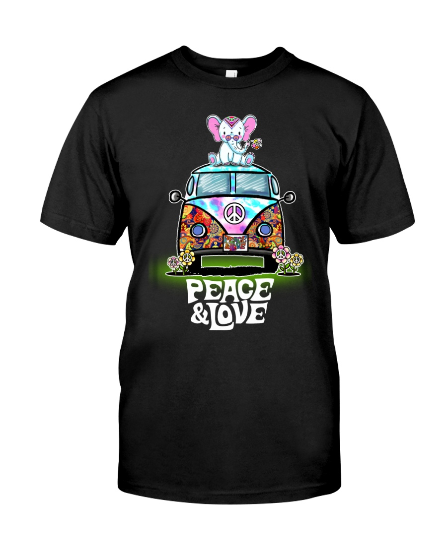 Peace and Love Elephant Shirt Classic T-Shirt
