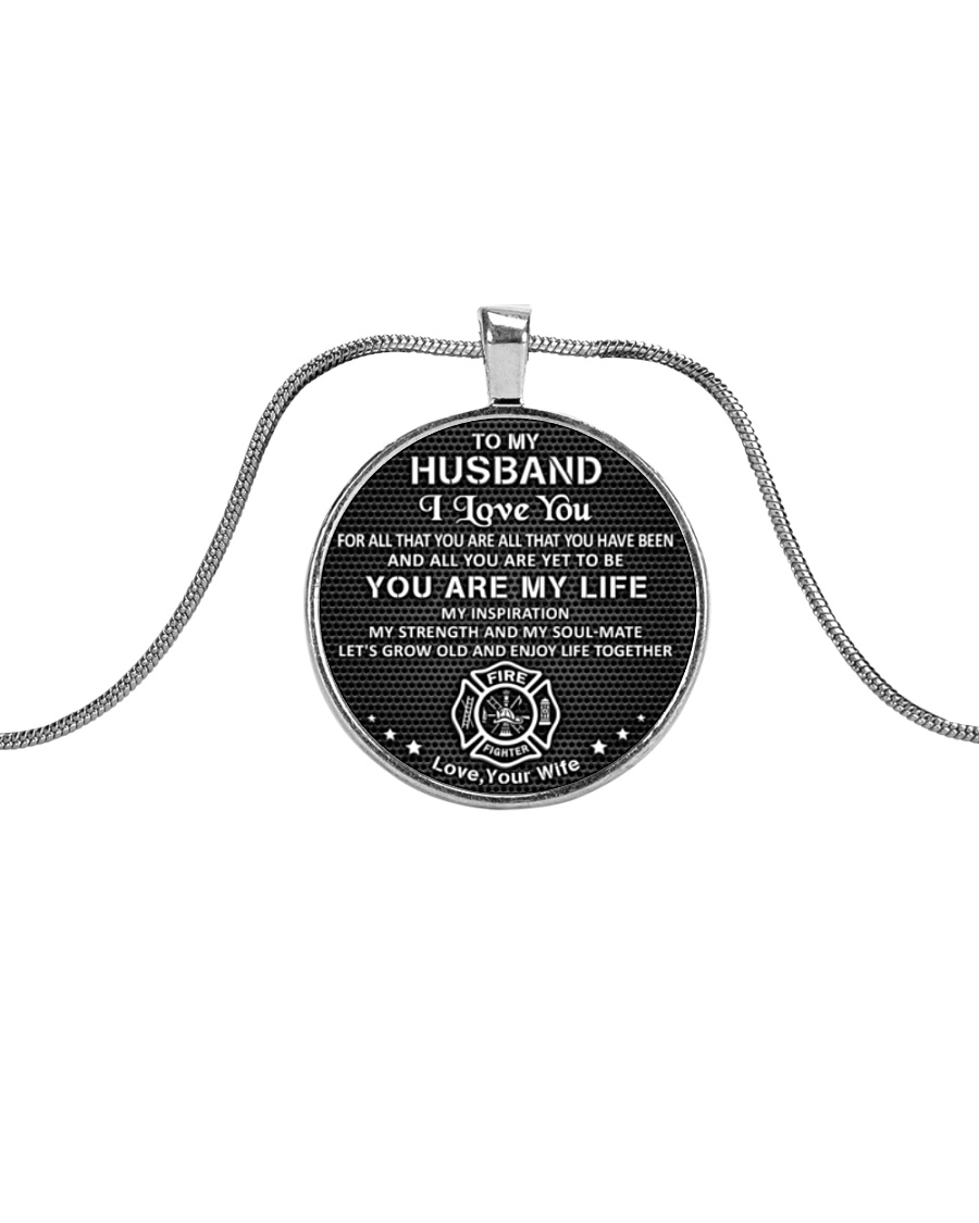 Firefighter You Are My Life Husband Metallic Circle Necklace
