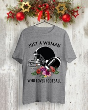 Just a woman who loves football shirt Classic T-Shirt lifestyle-holiday-crewneck-front-2