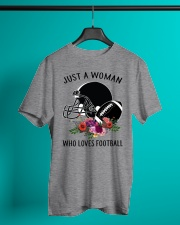 Just a woman who loves football shirt Classic T-Shirt lifestyle-mens-crewneck-front-3