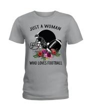 Just a woman who loves football shirt Ladies T-Shirt thumbnail
