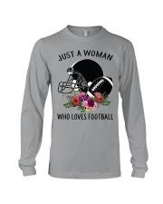 Just a woman who loves football shirt Long Sleeve Tee thumbnail