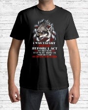 Wolf Taught To Think Before Acting Classic T-Shirt lifestyle-mens-crewneck-front-1