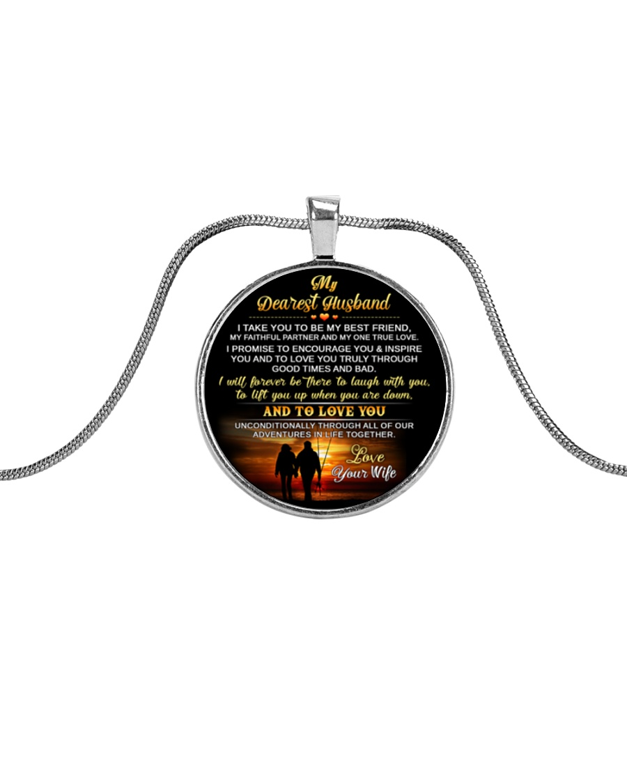 Faithful Partner True Love Husband Fishing Metallic Circle Necklace