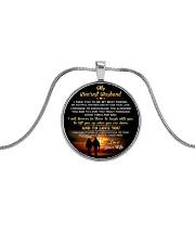 Faithful Partner True Love Husband Fishing Metallic Circle Necklace front