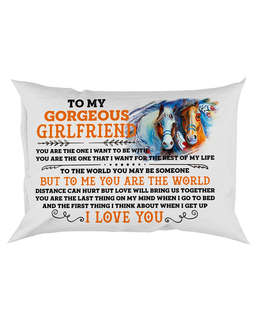 Horse Girlfriend To Me You Are The World Rectangular Pillowcase