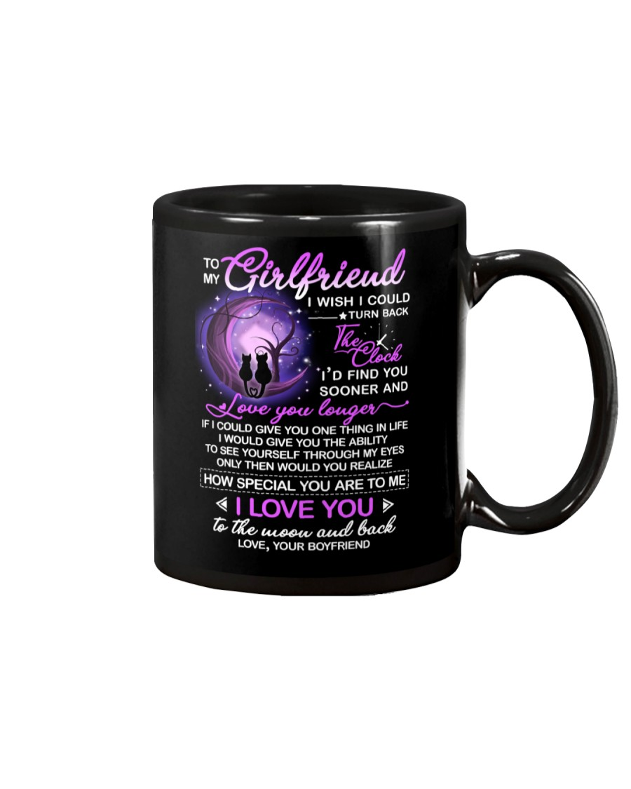 Cat Girlfriend Clock Ability Moon Mug