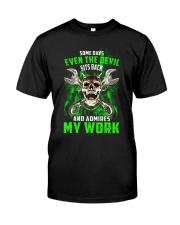 Devil Admires Mechanic's Work Classic T-Shirt front