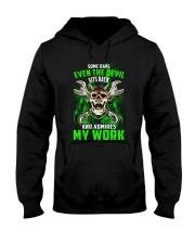 Devil Admires Mechanic's Work Hooded Sweatshirt thumbnail