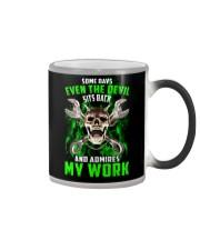 Devil Admires Mechanic's Work Color Changing Mug thumbnail
