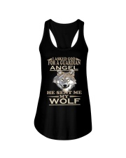 I Aske God For A Guardian Angel He Sent Me My Wolf Ladies Flowy Tank thumbnail
