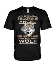 I Aske God For A Guardian Angel He Sent Me My Wolf V-Neck T-Shirt thumbnail