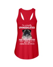Im Curently Unmedicated And Unsuper Vised pug Ladies Flowy Tank thumbnail