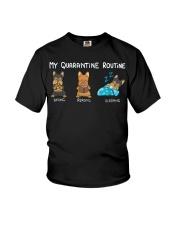 My Quarantine Routine Yorkie3 Youth T-Shirt thumbnail