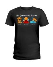 My Quarantine Routine Golden Retriever4 Ladies T-Shirt thumbnail