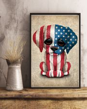 Puppy American Flag 4th Of July Gift Ideas 11x17 Poster lifestyle-poster-3