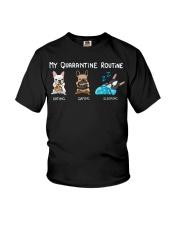 My Quarantine Routine frenchie  Youth T-Shirt thumbnail