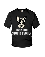 I Only Bite Stupid People French Bulldog Youth T-Shirt thumbnail