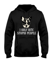 I Only Bite Stupid People French Bulldog Hooded Sweatshirt thumbnail