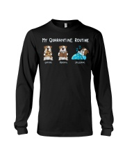 My Quarantine Routine bulldog2 Long Sleeve Tee thumbnail