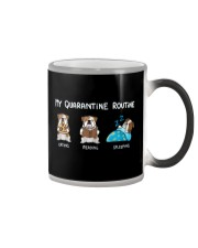 My Quarantine Routine bulldog2 Color Changing Mug thumbnail