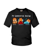 My Quarantine Routine Pomeranian4 Youth T-Shirt thumbnail
