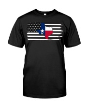 Texas State Black And White American Flag Classic T-Shirt tile