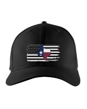 Texas State Black And White American Flag Embroidered Hat front