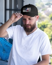 Texas State Black And White American Flag Embroidered Hat garment-embroidery-hat-lifestyle-05