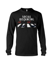 dachshund social distancing Long Sleeve Tee tile