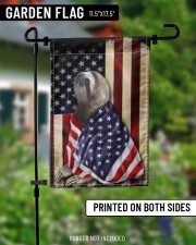 """Sloth Wearing American Flag Patriotic Outdoor Decor Fourth Of July Gifts 11.5""""x17.5"""" Garden Flag aos-garden-flag-11-5-x-17-5-lifestyle-front-13"""