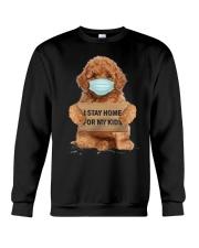 I Stay Home For My Kids Poodle Crewneck Sweatshirt thumbnail