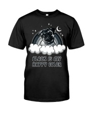 Black Is My Happy Color pug Classic T-Shirt front