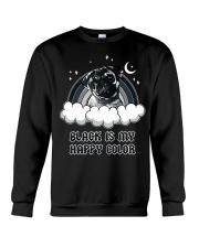 Black Is My Happy Color pug Crewneck Sweatshirt thumbnail
