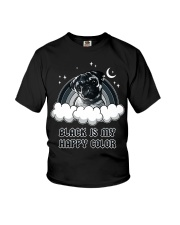 Black Is My Happy Color pug Youth T-Shirt thumbnail