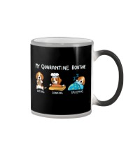 My Quarantine Routine beagle2 Color Changing Mug tile